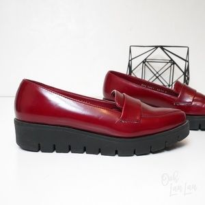 ANDREA FENZI Shoes - Andrea Cherry Red Platform Creepers Loafers Flats